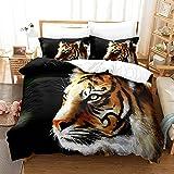 Forest Animal Tiger Ropa de Cama 200x200cm Juego de sábanas 3 Piezas Funda nórdica de Microfibra para Ropa de Cama y 2 Fundas de Almohada 50x75cm
