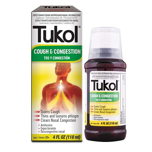 TUKOL Cough and Congestion Cold Syrup - Fast Acting Formula, Cough Suppressant and Nasal Decongestant Multi-Symptom Cold Relief, 4 fl oz, White