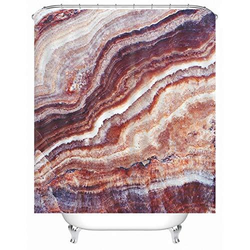 Aartoil Stoff Duschvorhang, Polyester Duschvorhang Wasserdicht Felsen Duschvorhang für Badezimmer Braun Langer Duschvorhang 66x72 Zoll
