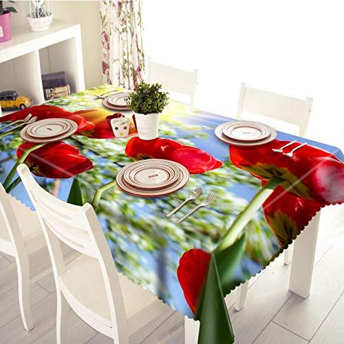 XXDD Mantel 3D patrón de Rosa roja Impermeable y a Prueba de Aceite Mantel de Boda Rectangular Grueso Textil para el hogar A4 140x200cm