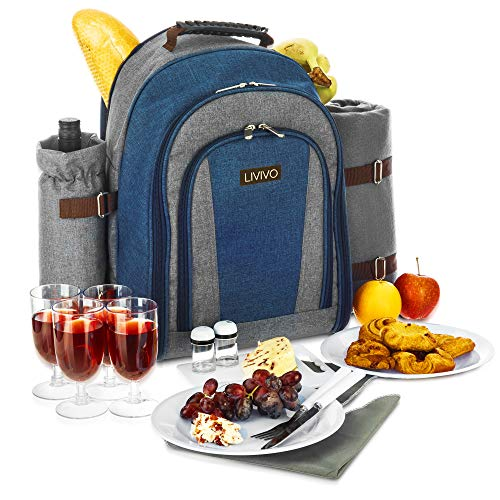 LIVIVO 4 Person Premium Picnic Hamper Backpack Rucksack Set With Cool Bag Bottle Holder & Fleece Blanket Rug, Includes Cutlery, Plates, Napkins, Wine Glasses, Bottle Opener, Chopping Cheese Board