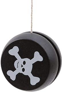 Jelinda Building Jelinda Wooden Yoyo Classic Toys Creative Building Personality Sports Hobby Yoyo for Kids Boys Girls, Black Skull (Black Skull)