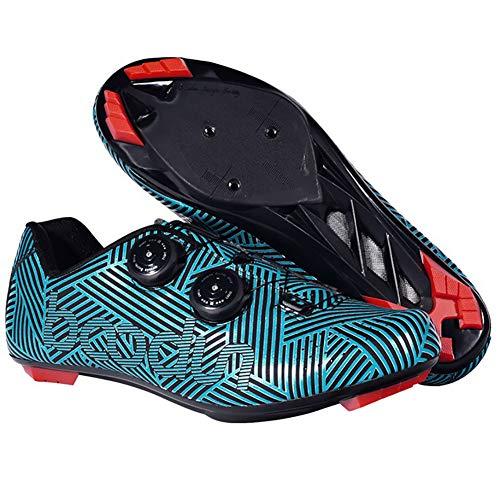Zapatillas De Ciclismo De Nailon De Primera Calidad, Zapatillas De Ciclismo De Carretera para Hombre con Tacos SPD para Hombre, Zapatillas De Ciclismo para Spinning - Ligeras,Azul,39