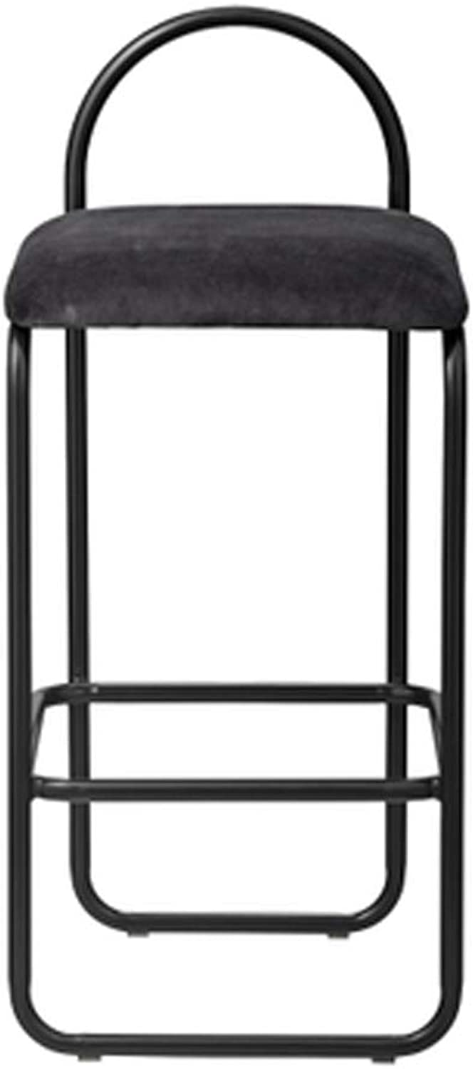 Black Bar Stools Modern Counter Hight Stool Velvet Fabric Seat with Footrest and Back for Bar Pub Dining Room Kitchen Home Furniture