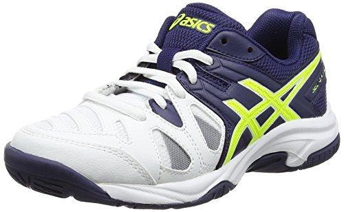 Asics Gel-Game 5 Gs, Scarpe da Tennis Unisex – Bambini, Bianco (White/Indigo Blue/Safety Yellow), 33 EU