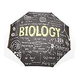 LASINSU Paraguas Resistente a la Intemperie,protección UV,Pizarra Negra Biología Símbolos Escritos Mano Aula Escuela