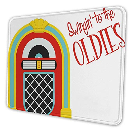 Rechthoekige Mousemat Mousepad, Jazz Age Vintage Party Thema Muziek Raido Box met Quote Art Print