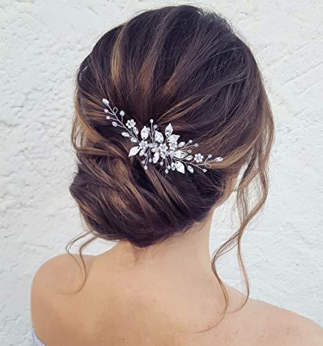 Zoestar Peigne à cheveux pour mariée - Fleur argentée - Perle - Cristal - Feuille - Accessoire pour cheveux pour femme et fille