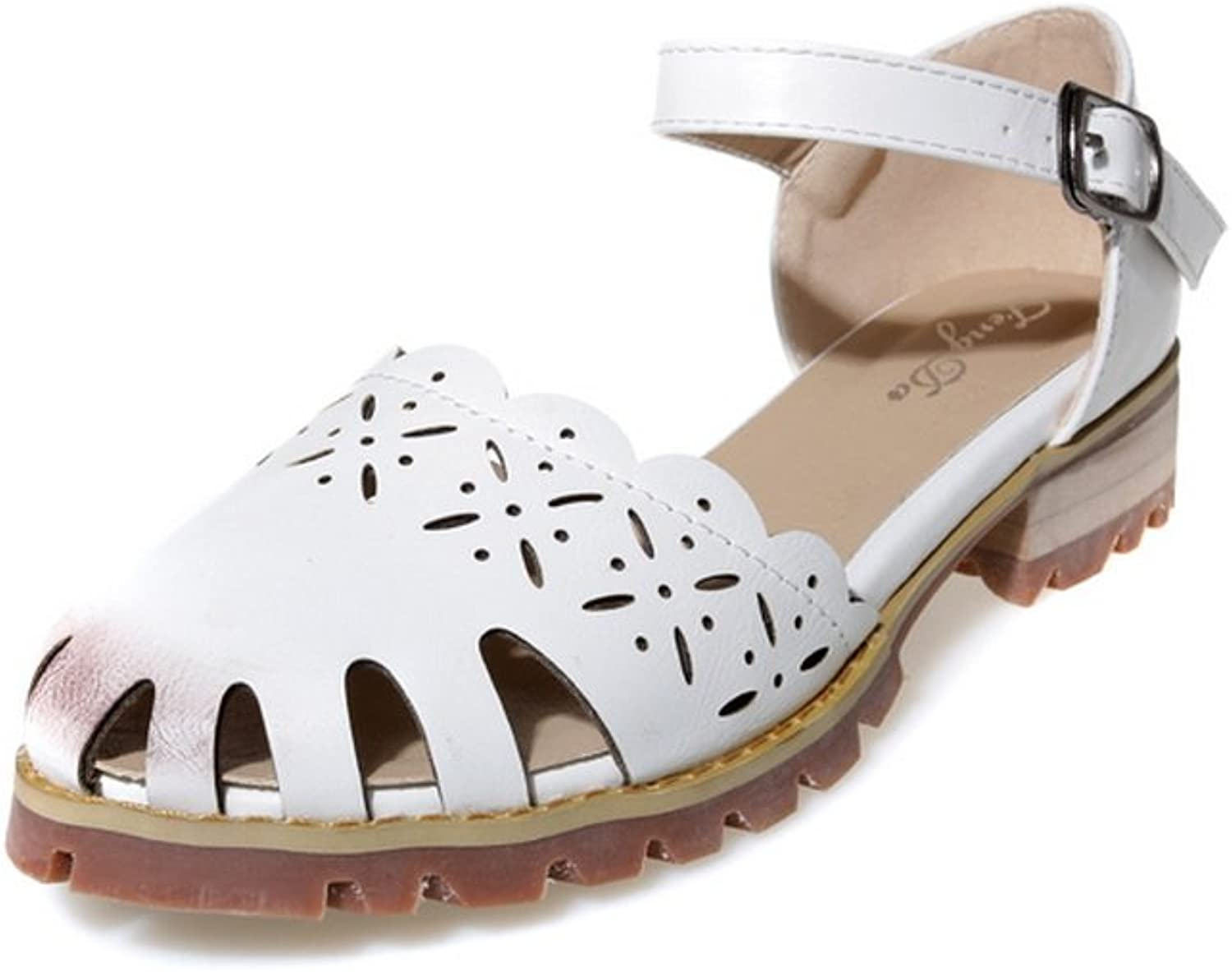 AdeeSu Womens Buckle Hollow Out Square Heels Urethane Flats shoes