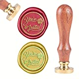 CRASPIRE Wax Seal Stamp Word You're Invited, Sealing Wax Stamp Retro Wood Stamp Wax Seal 25mm Removable Brass Head Wood Handle for Party Holiday Envelope Invitation Wedding Greeting Card Letter Seal