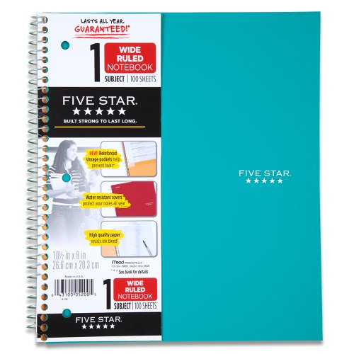 Five Star Wirebound Notebook, 1-Subject, 100 Wide-Ruled Sheets, 10.5 x 8 Inch Sheet Size, Teal (72015)