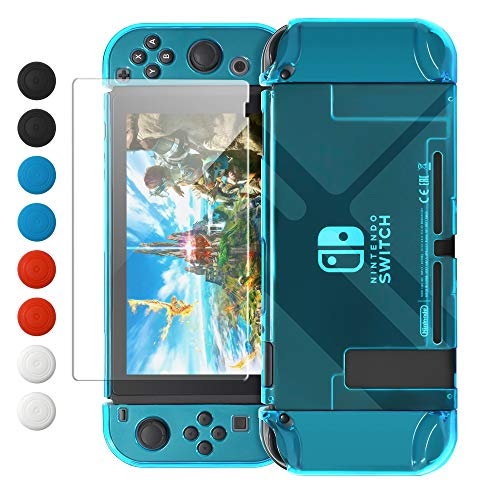 Dockable Case Compatible with Nintendo Switch, FYOUNG Protective Accessories Cover Case Compatible with Nintendo Switch and Nintendo Switch Joy-Con with Thumbstick Caps - Blue
