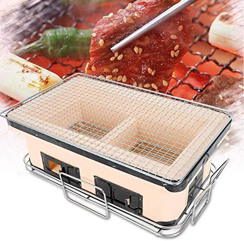 Tabla De Leña Grill BBQ Japanese Yakitori Barbacoa Tabla Parrilla Corea Cerámica Charcoal Grill Poroso Cerámica Barbacoa Parrilla Para Party Home 48X28x22cm