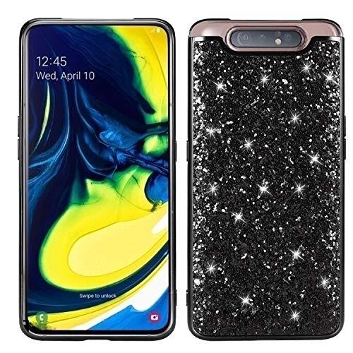 Yobby Bling Glitzer Hülle für Samsung Galaxy A80,Samsung Galaxy A80 Handyhülle Mode Hart PC Schale Rückseite + Stoßfest TPU Bumper Schutzhülle-Schwarz
