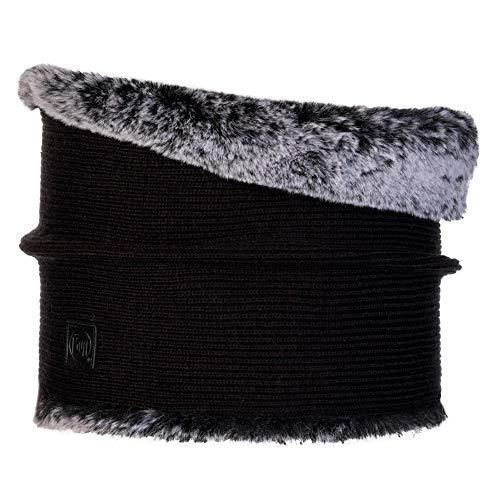 Original Buff Buff Knitted & Fake Fur Neckwarmer Comfort Kesha Black Tubular, Mujer, Negro, Talla única