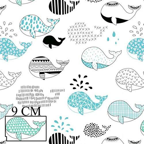Pingianer 11,99€/m Fisch Wal 100% Baumwolle Baumwollstoff Kinder Meterware Handwerken Nähen Stoff (Wal Blau, 100x160cm (11,99€/m))