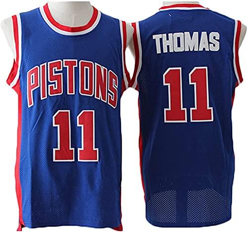 jiaju Ropa Baloncesto para Hombre NBA Jersey Vintage Detroit Pistons 11# Thomas Transpirable Secado rápido Sin Mangas Vestima Top para Deportes, Blanco, M (Color : Blue, Size : XL)
