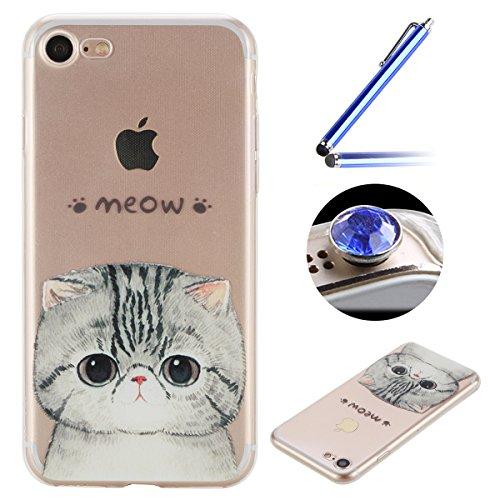 Etsue Doux Protecteur Coque pour iPhone 7,TPU Matériau Frame est Transparent Soft Cover pour iPhone 7,Coloré Motif par Dessin de Mode Case Coque pour iPhone 7 + 1 x Bleu stylet + 1 x Bling poussière plug (couleurs aléatoires)-Chat