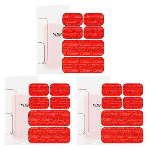 【Top Touch】 シックス 互換 パッド 腹筋 ベルト 対応 互換 高電導 ジェルシート アブズ 腹筋 ベルト 対応 日本製 ジェル 採用 互換品 3セットx(5.1×14.4cm:2枚+3.7×6.4cm:4枚)