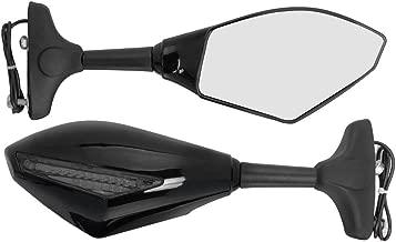 Amazinea 2pcs Front&Black Intergrated Amber LED Turn Signal Blinker Rearview Side Mirror For Honda Yamaha Kawasaki Ninja (Smoke, Black)