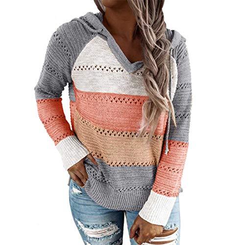 Women's Sweater Long Sleeve Knit Hollow Pullover Women Elegant All-Match Color Block Knit Ribbing Loose Hoodies Women Leisure Hooded Sweatshirt Jumper Autumn Tops Christmas L