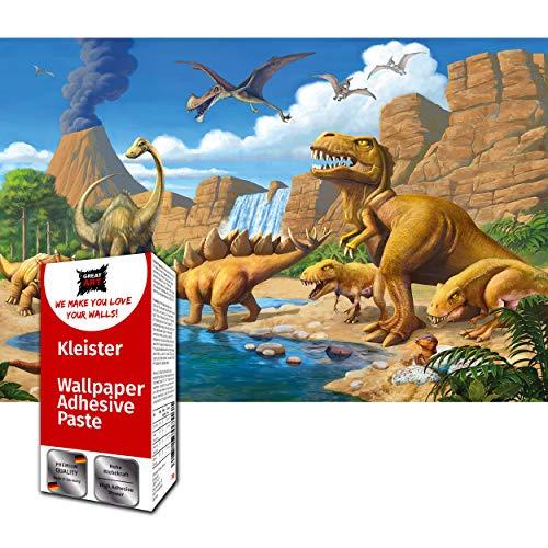 GREAT ART Fototapete Dinosaurier 210 x 140 cm – Wandbild Mädchen Jungen T-Rex Jurazeit Dino Abenteuer Stegosaurus Kindertapete Kinderzimmer – 5 Teile Tapete inklusive Kleister