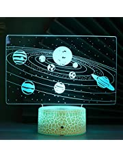 Mobestech 3D Night Light Solar System Colors Changing Led Optical Illusion Lamp with Remote Control, for Kids Birthday Gifts Home Bedroom Decor