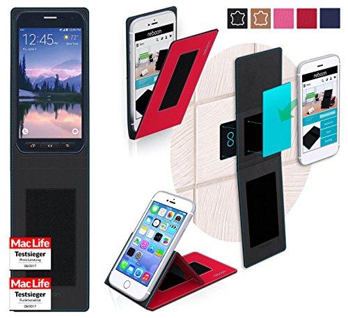 reboon Hülle für Samsung Galaxy S6 Active Tasche Cover Case Bumper | Rot | Testsieger