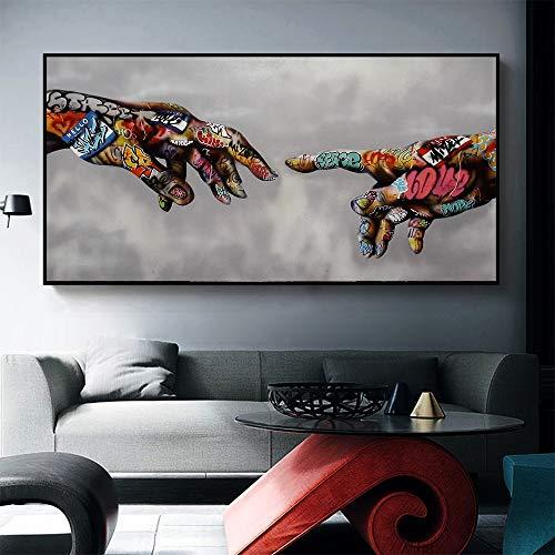 sanzangtang Wandkunst Malerei Leinwanddruck Poster Adam Bild von Graffiti kreative Wohnzimmer rahmenlose 20x40cm