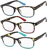 Reading Glasses Set of 3 Great Value Spring Hinge Readers Men and Women Glasses for Reading +3