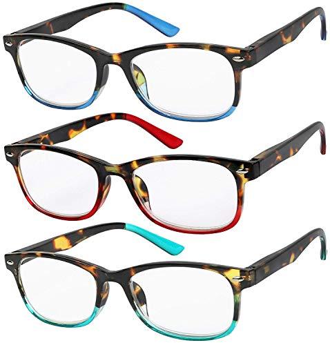 Reading Glasses Set of 3 Great Value Spring Hinge Readers Men and Women Glasses for Reading +2.25