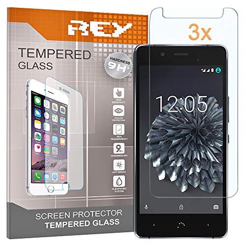 REY 3X Protector de Pantalla para BQ AQUARIS X5 Plus, Cristal Vidrio Templado Premium