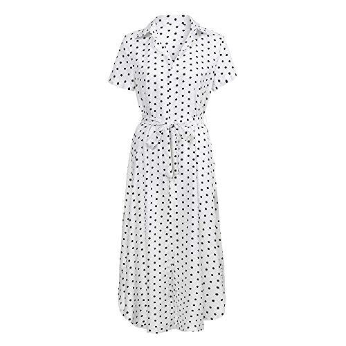 YUHUISTART Kleid Damen Sommer Kurzarm Sexy Casual Täglichen Fliege V Ausschnitt Kleid Dot Taste Kurzarm Soild Lange Kleid