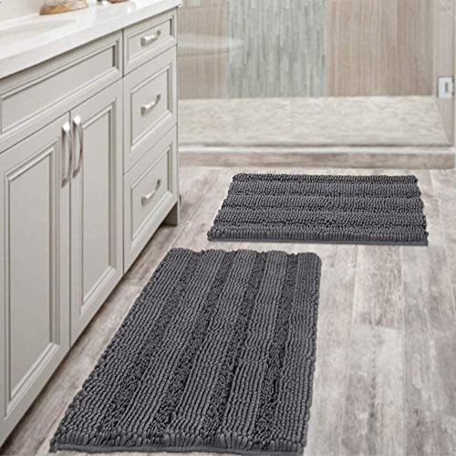 "Grey Bath Mats for Bathroom Non Slip Ultra Thick and Soft Chenille Plush Striped Floor Mats Bath Rugs Set, Microfiber Door Mats for Kitchen/Living Room (Pack 2-20"" x 32""/17"" x 24"")"