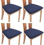 TIANSHU Funda Asiento Silla,Fundas elásticas para Asientos de sillas de Comedor y Oficina Jacquard Poliéster Elástica Fundas sillas Duradera(Paquete de 4,Azul Oscuro)