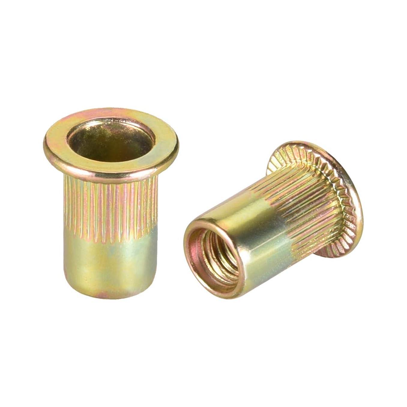 uxcell M6 Carbon Steel Rivet Nuts Flat Head Insert Nutsert Yellow Zinc Plated 20 Pcs