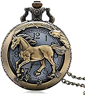 Retro Style Vintage Quartz Pocket Watch Collection with Chain, Packing Box & Free & Fast Delivery