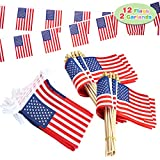 """SUPER VALUE PACK. Our party supplies set includes 12 handheld wooden stick American flags and 2 flag garlands. UNIQUE DESIGN & EASY TO USE. Proclaim your American pride by flying these American flags! The American flag itself measures 4"""" x 6"""" with ha..."""