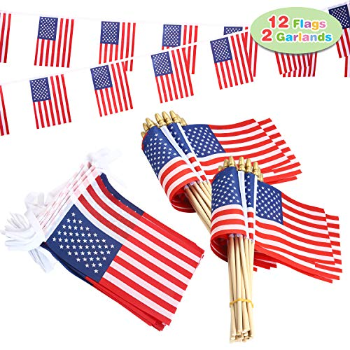 JOYIN 14 Pcs Patriotic Party Supplies of 12 Wooden Stick Handheld American Flag, and 2 Flag Garland for 4th of July Celebration, Independence Day, Memorial Day, Veterans Day, Patriotic Themed Party