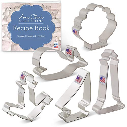 Ann Clark Cookie Cutters 5-Piece Nautical Cookie Cutter Set with Recipe Booklet, Anchor, Sailboat, Lighthouse, Seashell and Whale
