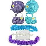 Girls Tea Party Dress Up Set Hats Purses Boas Gloves Necklaces Blue Purple Morgan
