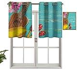 Moderna cortina de ventana, ukelele con fondo de estilo hawaiano, de madera, estilo clásico, vacaciones, juego de 2, paneles opacos decorativos para el hogar de 42 x 36 pulgadas para sala de estar