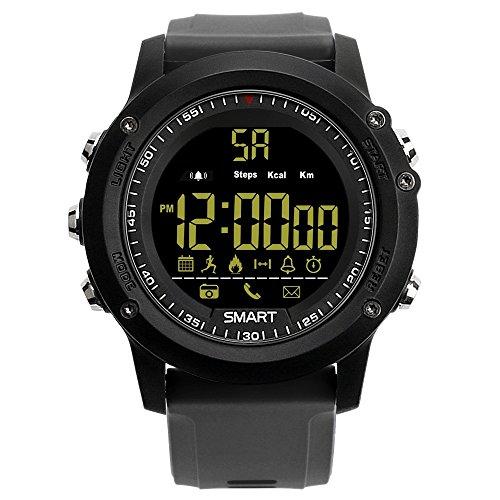 FUNSHINNY Ex17 Bluetooth 4.0 Smart Watch Rastreadores de Fitness, 50 m Professional Impermeable, Pedómetro de Soporte/Recordatorio de información/Análisis de Datos/Cámara remota (Negro)