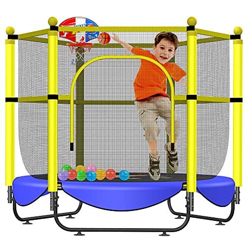 Cama elástica de 152 cm para niños – Cama elástica de 152 cm para interior y exterior con red de seguridad, mini aro de baloncesto, juguetes de cama elástica pequeña, regalos de cumpleaños para niños, regalos para niño y niña, edad 1 – 8 años