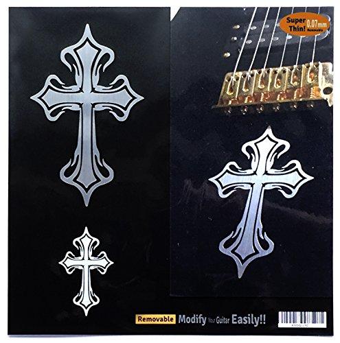 Inlay Sticker Sticker voor Gitaar & Bas - Metallic Tribal Kruis (2 stks)