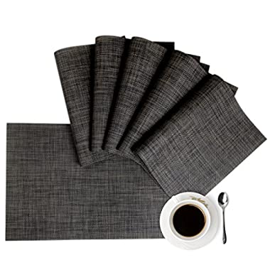 Placemats,HQSILK Table Mats,Placemat Sets of 6 Non-Slip Washable Coffee Mats,Heat Resistant Kitchen Tablemats For Dining Table (Dark Gray)