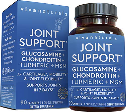 Glucosamine Chondroitin with Turmeric, MSM Boswellia & Hyaluronic Acid (90 Capsules) - Triple Strength Joint Supplements for Joint Support in Just 7 Days
