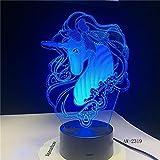 Solo 1 pieza Unicornio Romantic3D Lámpara de mesa LED 7 Cambio de color Luz nocturna Decoración de la habitación Lustre Vacaciones Novia Niños Juguetes
