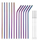 Multicolor Colorful Stainless Steel Straws Set of 12 10.5