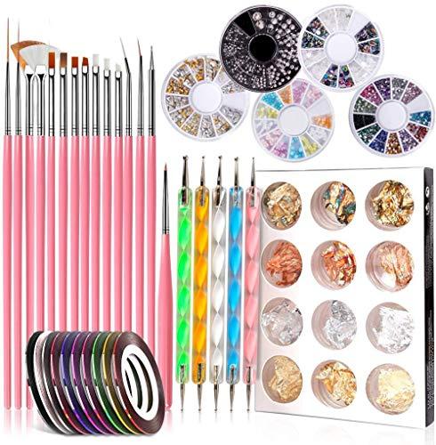 GOTONE 47 piezas Kit de Accesorios Decoración Uñas Nail Art, 15 Pinceles para Uñas, 10 Cintas Adhesivas Uñas, 5 de Lápiz de Punto, 5 Cajas diamantes de imitación, 12 Foil Paillette